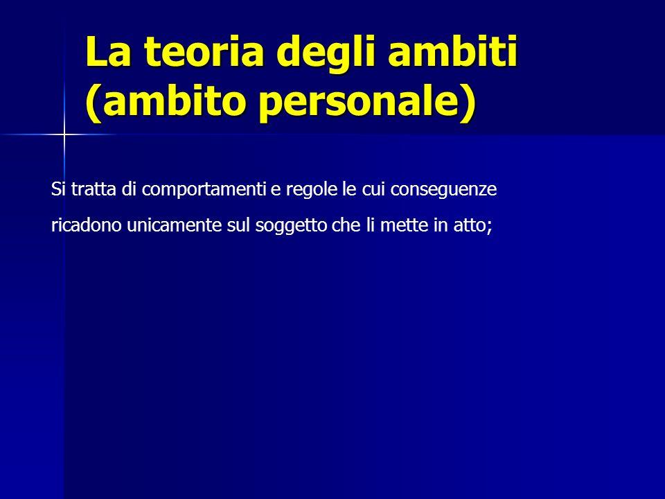 La teoria degli ambiti (ambito personale) Si tratta di comportamenti e regole le cui conseguenze ricadono unicamente sul soggetto che li mette in atto