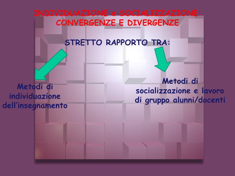 STRETTO RAPPORTO TRA: INDIVIDUAZIONE e SOCIALIZZAZIONE: CONVERGENZE E DIVERGENZE Metodi di socializzazione e lavoro di gruppo alunni/docenti Metodi di