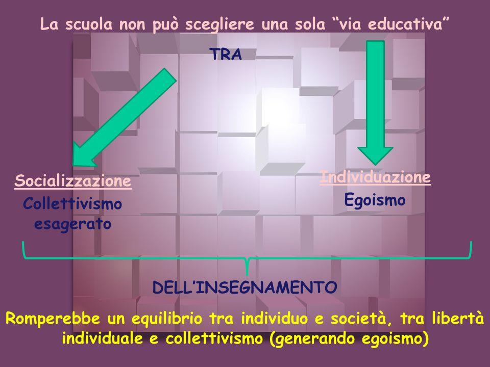 La scuola non può scegliere una sola via educativa Individuazione Socializzazione TRA Collettivismo esagerato Egoismo DELLINSEGNAMENTO Romperebbe un e