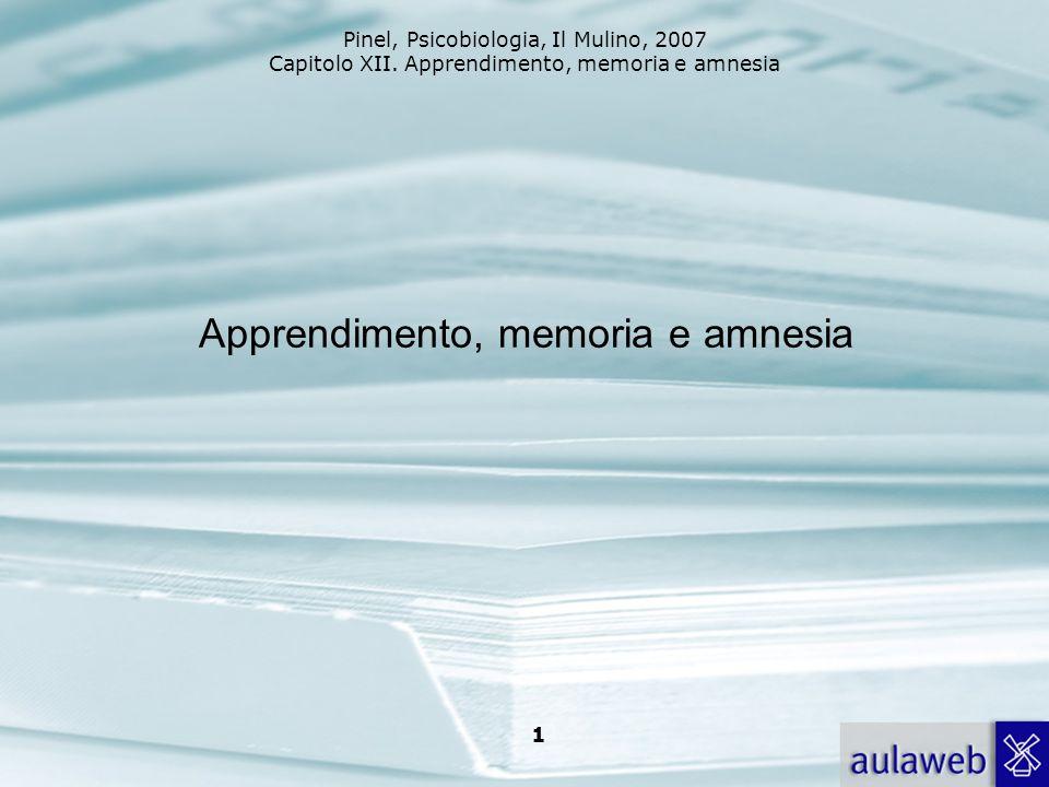 Pinel, Psicobiologia, Il Mulino, 2007 Capitolo XII. Apprendimento, memoria e amnesia 1 Apprendimento, memoria e amnesia