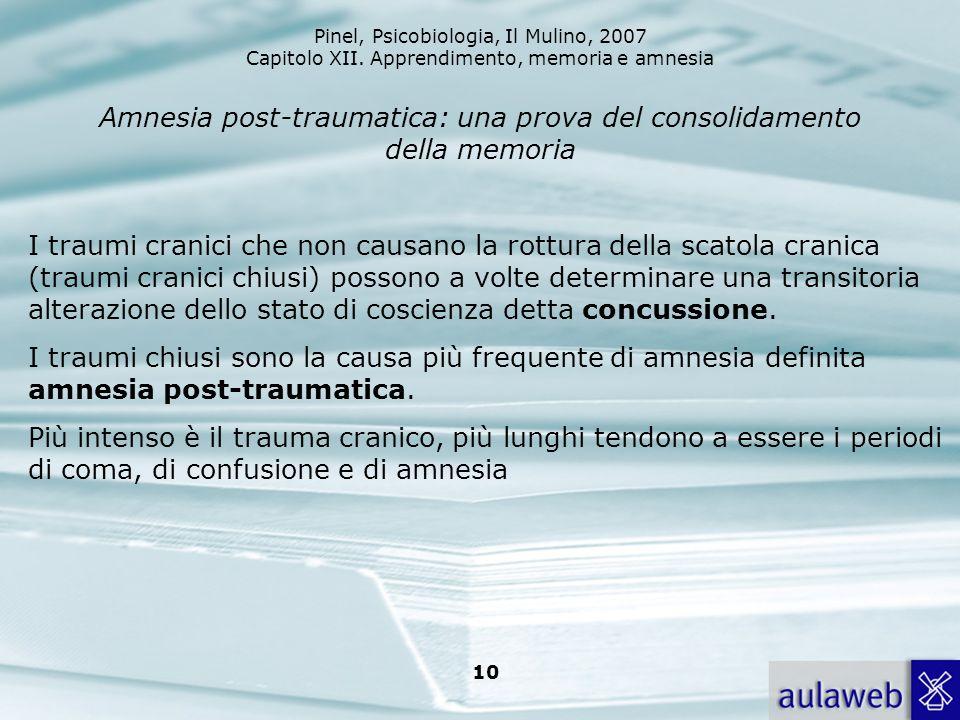 Pinel, Psicobiologia, Il Mulino, 2007 Capitolo XII. Apprendimento, memoria e amnesia 10 Amnesia post-traumatica: una prova del consolidamento della me