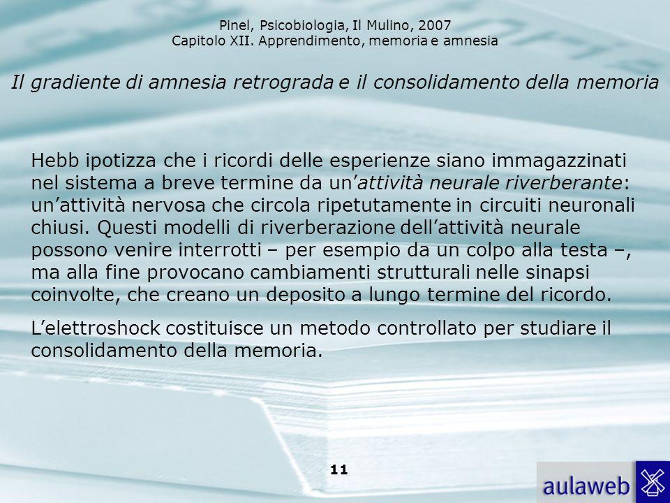 Pinel, Psicobiologia, Il Mulino, 2007 Capitolo XII. Apprendimento, memoria e amnesia 11 Il gradiente di amnesia retrograda e il consolidamento della m
