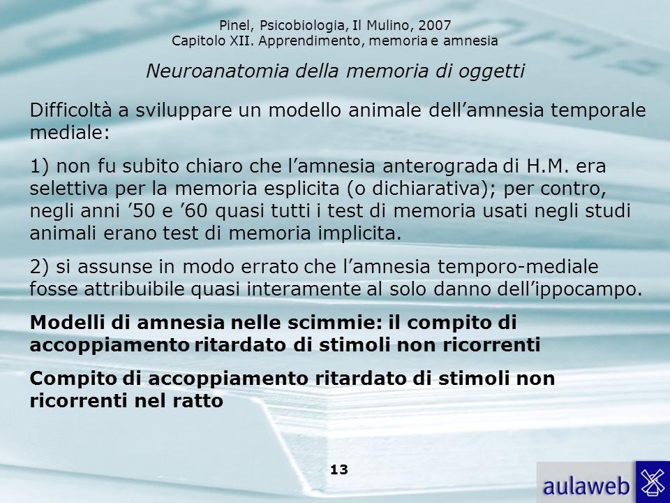 Pinel, Psicobiologia, Il Mulino, 2007 Capitolo XII. Apprendimento, memoria e amnesia 13 Neuroanatomia della memoria di oggetti Difficoltà a sviluppare