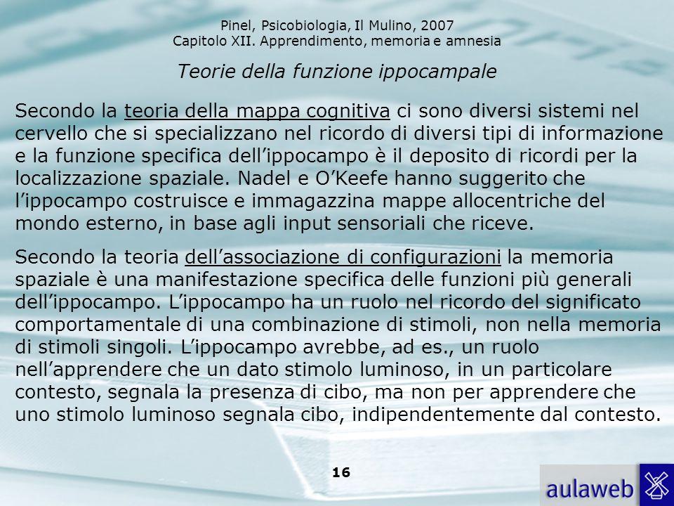 Pinel, Psicobiologia, Il Mulino, 2007 Capitolo XII. Apprendimento, memoria e amnesia 16 Teorie della funzione ippocampale Secondo la teoria della mapp