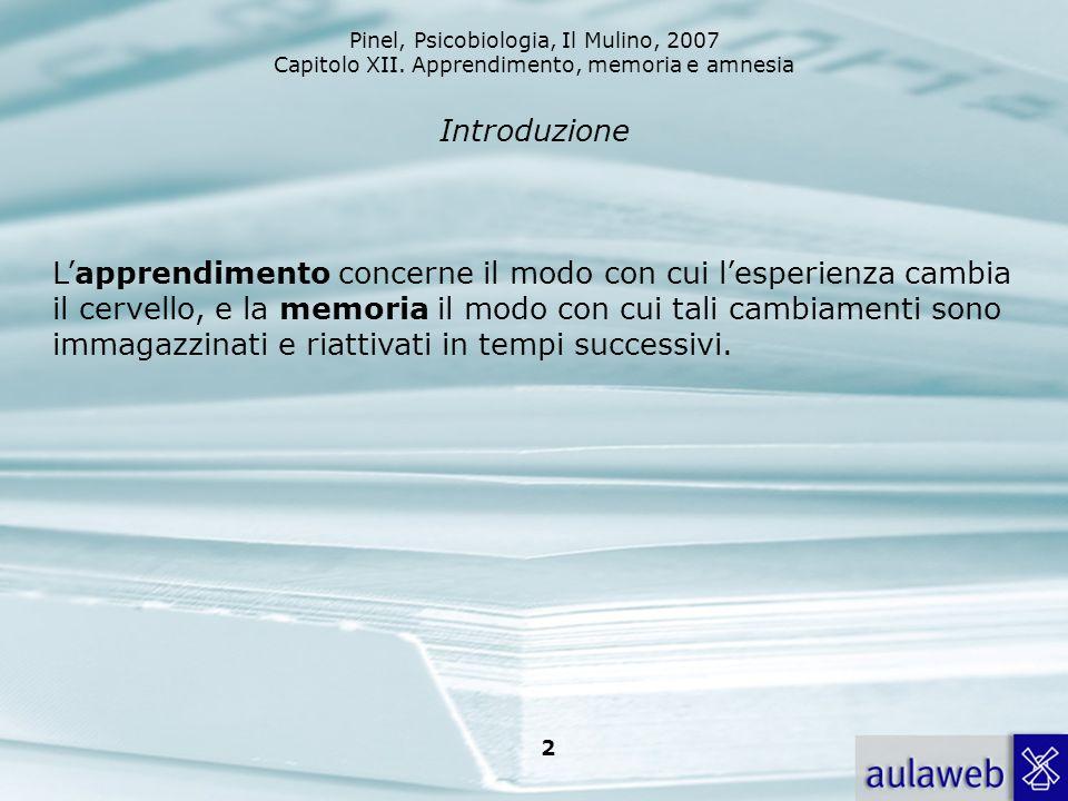Pinel, Psicobiologia, Il Mulino, 2007 Capitolo XII. Apprendimento, memoria e amnesia 2 Introduzione Lapprendimento concerne il modo con cui lesperienz