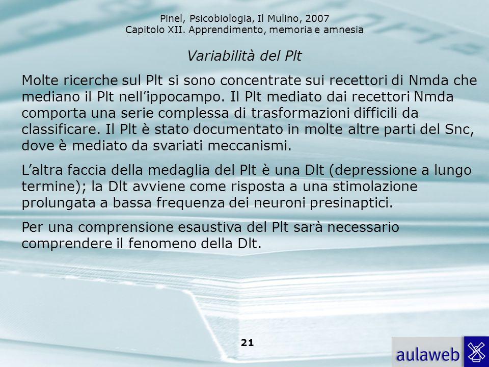 Pinel, Psicobiologia, Il Mulino, 2007 Capitolo XII. Apprendimento, memoria e amnesia 21 Variabilità del Plt Molte ricerche sul Plt si sono concentrate