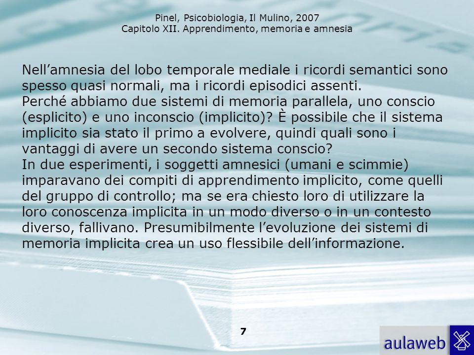 Pinel, Psicobiologia, Il Mulino, 2007 Capitolo XII. Apprendimento, memoria e amnesia 7 Nellamnesia del lobo temporale mediale i ricordi semantici sono