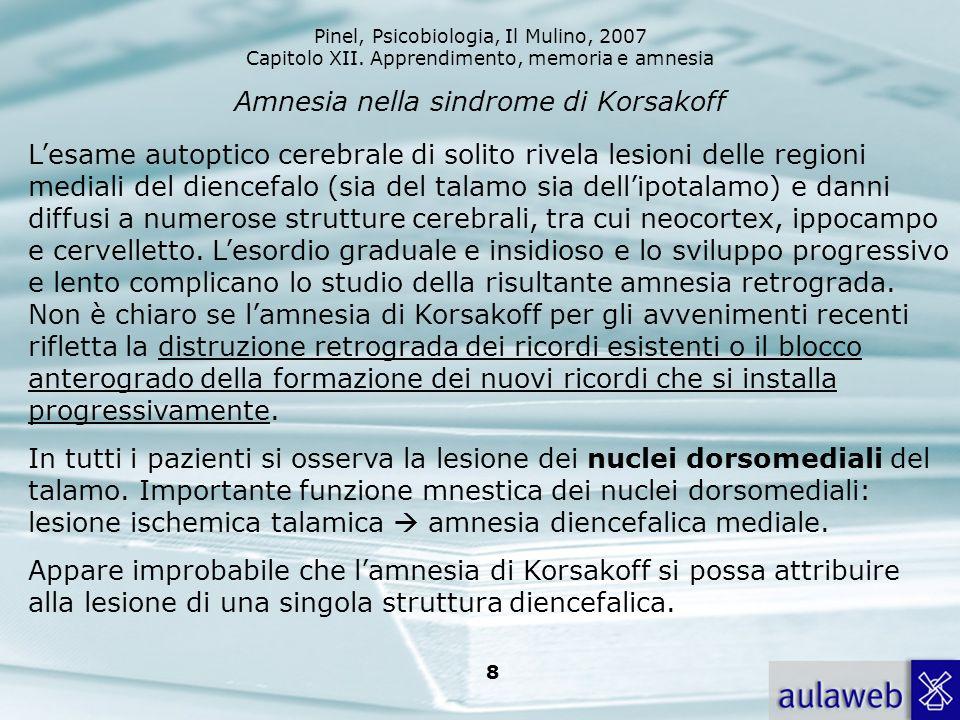 Pinel, Psicobiologia, Il Mulino, 2007 Capitolo XII. Apprendimento, memoria e amnesia 8 Amnesia nella sindrome di Korsakoff Lesame autoptico cerebrale