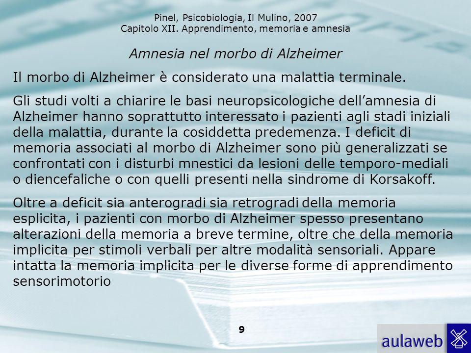 Pinel, Psicobiologia, Il Mulino, 2007 Capitolo XII. Apprendimento, memoria e amnesia 9 Amnesia nel morbo di Alzheimer Il morbo di Alzheimer è consider