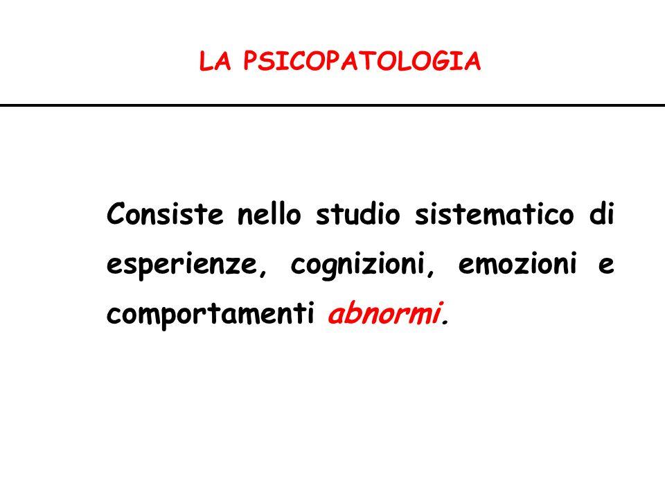 PSICOPATOLOGIA Psicopatologi a descrittiva Psicopatologia evolutiva Fenomenologia