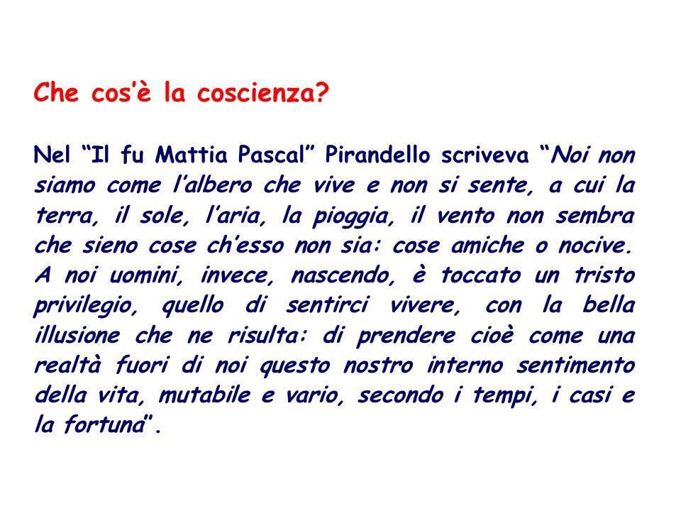 Nel Il fu Mattia Pascal Pirandello scriveva Noi non siamo come lalbero che vive e non si sente, a cui la terra, il sole, laria, la pioggia, il vento non sembra che sieno cose chesso non sia: cose amiche o nocive.