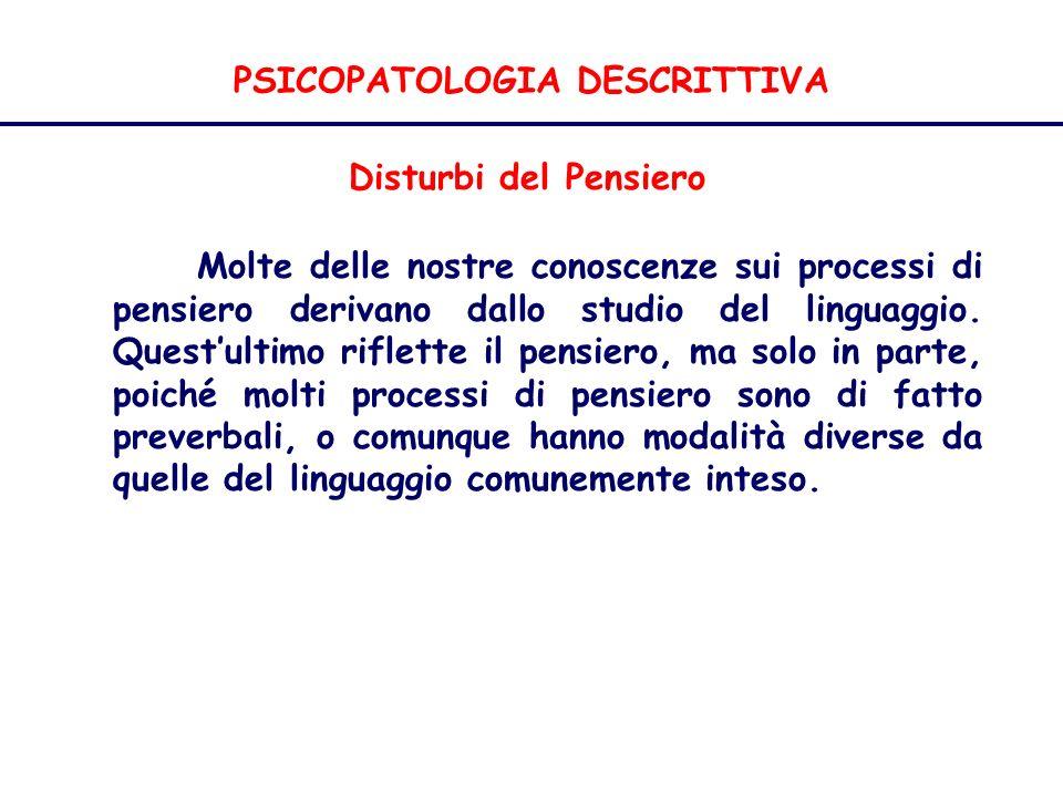PSICOPATOLOGIA DESCRITTIVA Disturbi del Pensiero Molte delle nostre conoscenze sui processi di pensiero derivano dallo studio del linguaggio.