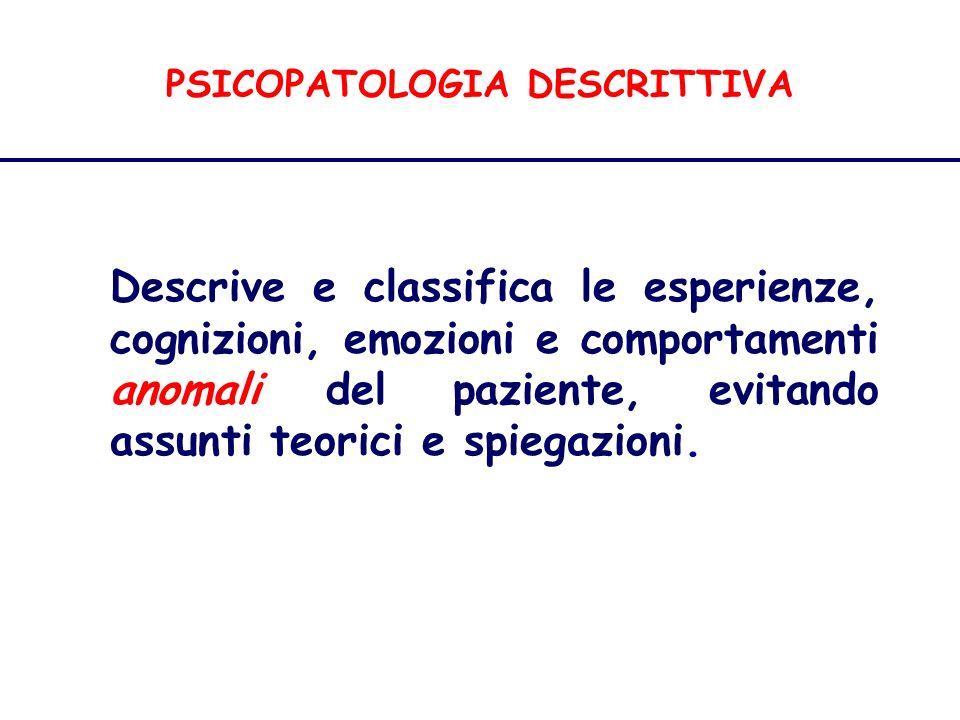 PSICOPATOLOGIA DESCRITTIVA Disturbi della Percezione Allucinazioni parziali e funzionali Il termine pseudoallucinazione è stato talora utilizzato per indicare allucinazioni rispetto alle quali il paziente si mostra dubbioso, critico.