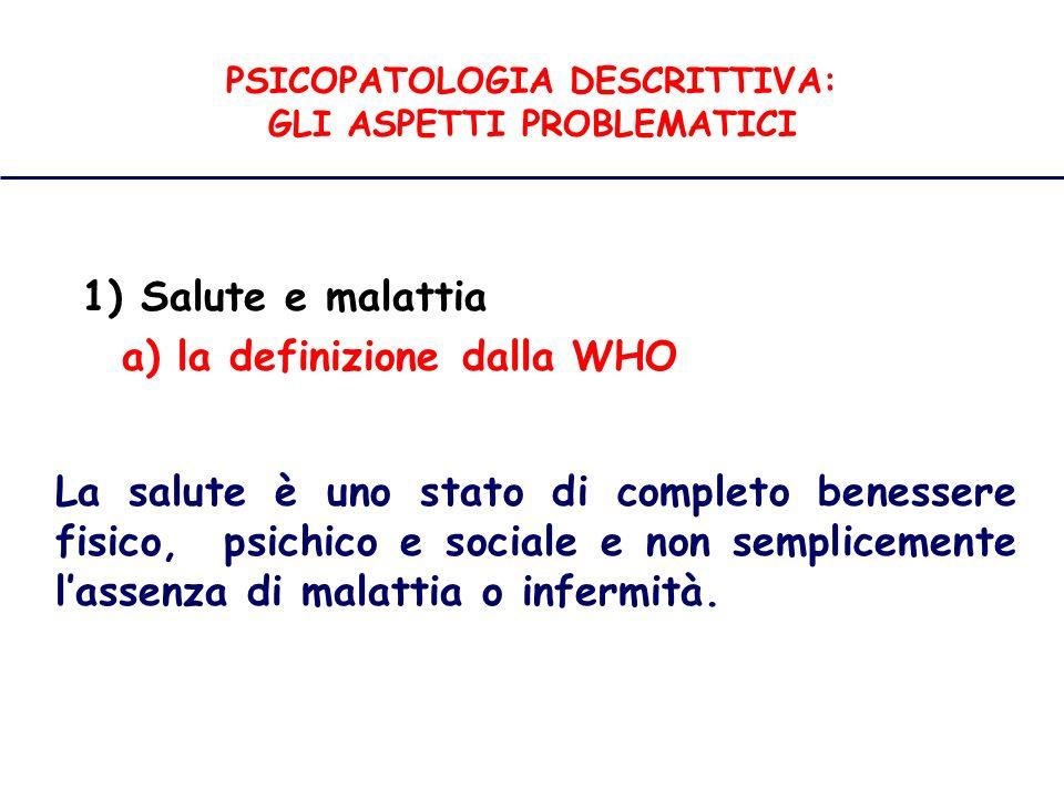 PSICOPATOLOGIA DESCRITTIVA: GLI ASPETTI PROBLEMATICI 1) Salute e malattia mentale a) la definizione di Griesinger Le malattie mentali sono malattie del cervello