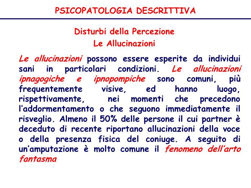 PSICOPATOLOGIA DESCRITTIVA Disturbi della Percezione Le Allucinazioni Le allucinazioni possono essere esperite da individui sani in particolari condizioni.