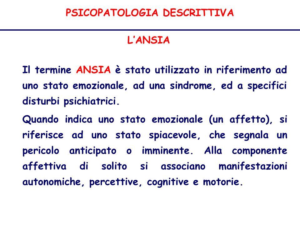 PSICOPATOLOGIA DESCRITTIVA LANSIA Il termine ANSIA è stato utilizzato in riferimento ad uno stato emozionale, ad una sindrome, ed a specifici disturbi psichiatrici.