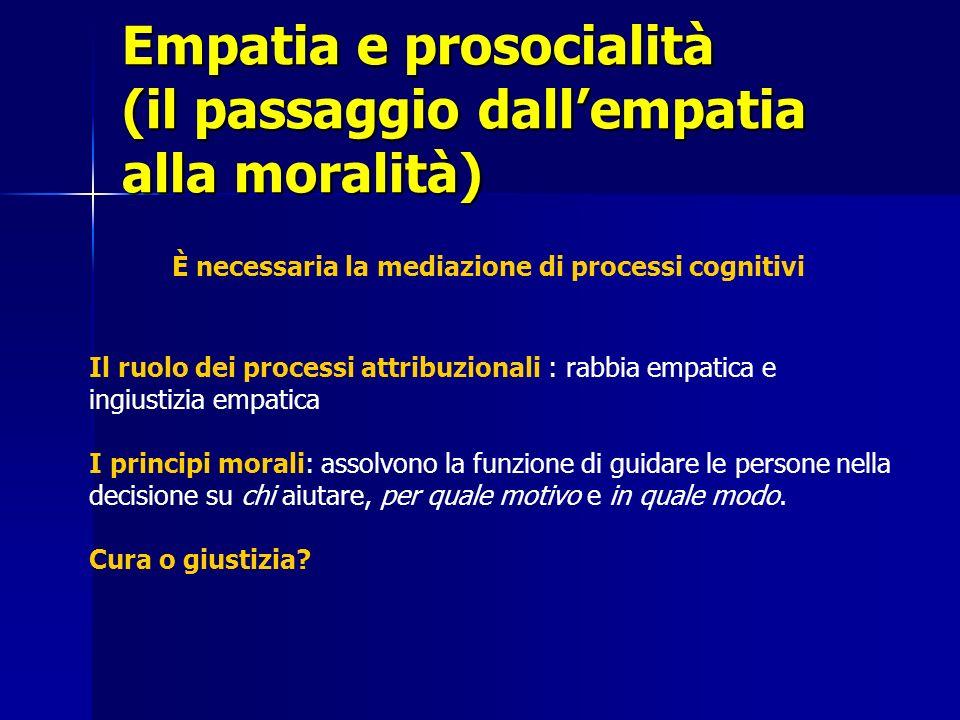 Empatia e prosocialità (il passaggio dallempatia alla moralità) Il ruolo dei processi attribuzionali : rabbia empatica e ingiustizia empatica I princi