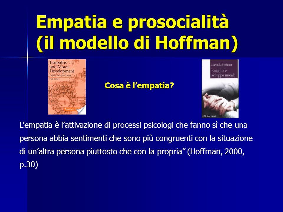 Empatia e prosocialità (il modello di Hoffman) Cosa è lempatia? Lempatia è lattivazione di processi psicologi che fanno sì che una persona abbia senti