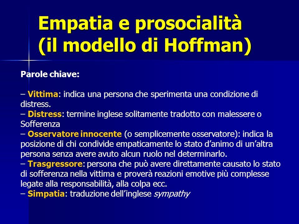 Empatia e prosocialità (il modello di Hoffman) Parole chiave: – Vittima: indica una persona che sperimenta una condizione di distress. – Distress: ter