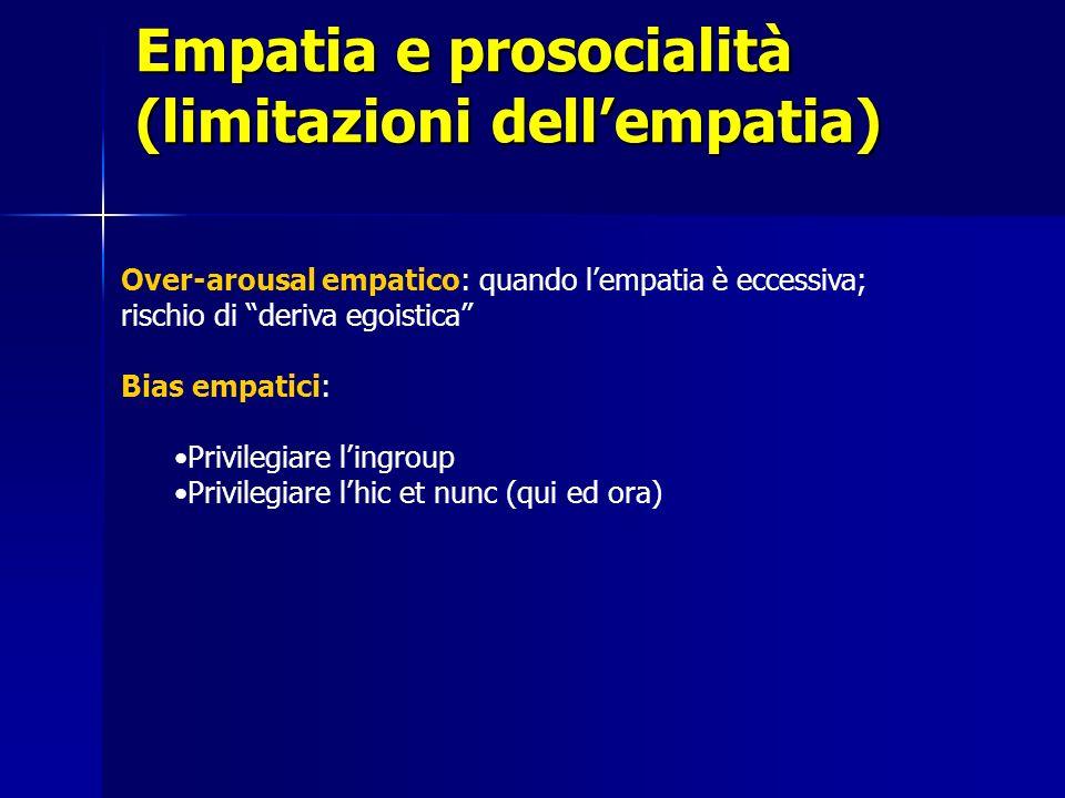 Empatia e prosocialità (limitazioni dellempatia) Over-arousal empatico: quando lempatia è eccessiva; rischio di deriva egoistica Bias empatici: Privil