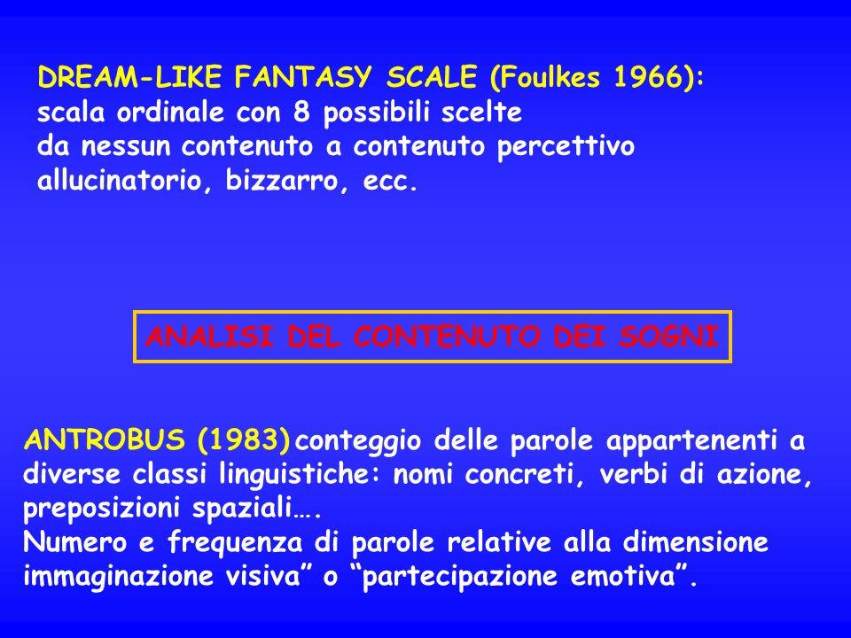 DREAM-LIKE FANTASY SCALE (Foulkes 1966): scala ordinale con 8 possibili scelte da nessun contenuto a contenuto percettivo allucinatorio, bizzarro, ecc