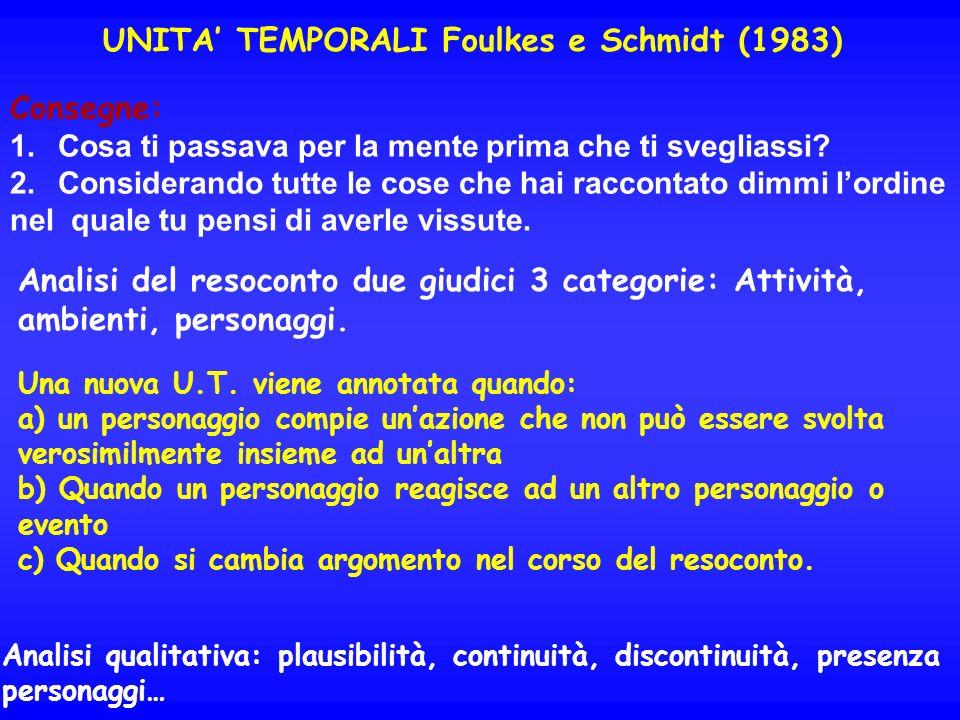 UNITA TEMPORALI Foulkes e Schmidt (1983) Consegne: 1.Cosa ti passava per la mente prima che ti svegliassi? 2.Considerando tutte le cose che hai raccon