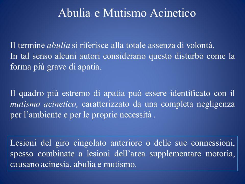 Abulia e Mutismo Acinetico Il termine abulia si riferisce alla totale assenza di volontà. In tal senso alcuni autori considerano questo disturbo come
