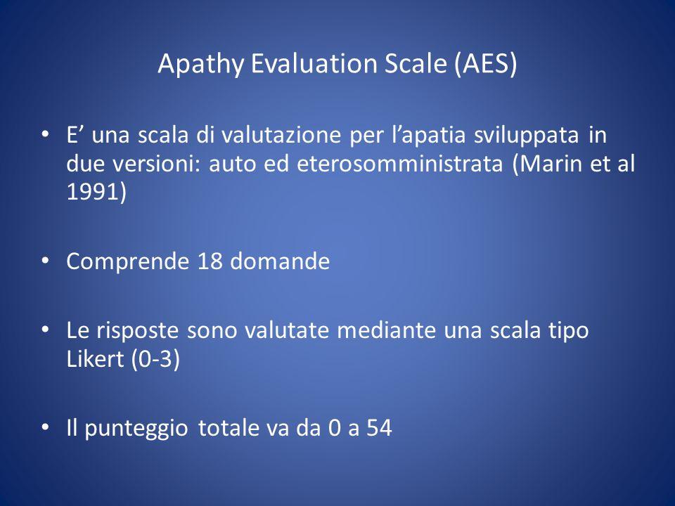Apathy Evaluation Scale (AES) E una scala di valutazione per lapatia sviluppata in due versioni: auto ed eterosomministrata (Marin et al 1991) Compren