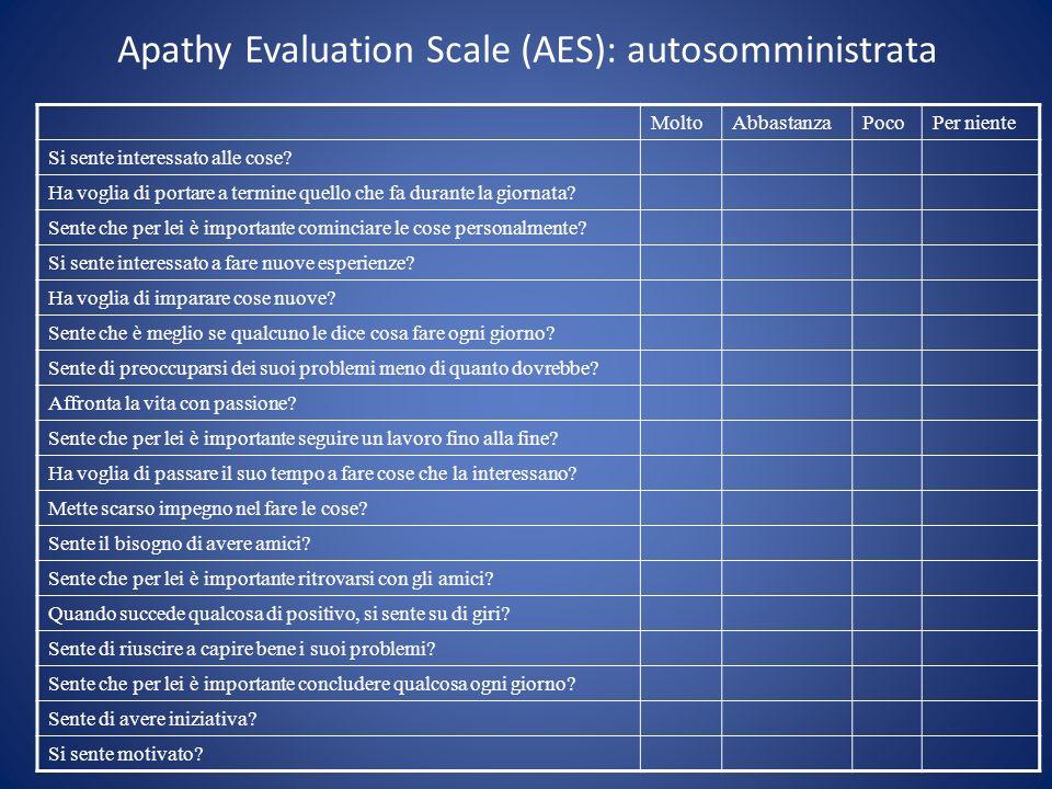 Apathy Evaluation Scale (AES): autosomministrata MoltoAbbastanzaPocoPer niente Si sente interessato alle cose? Ha voglia di portare a termine quello c