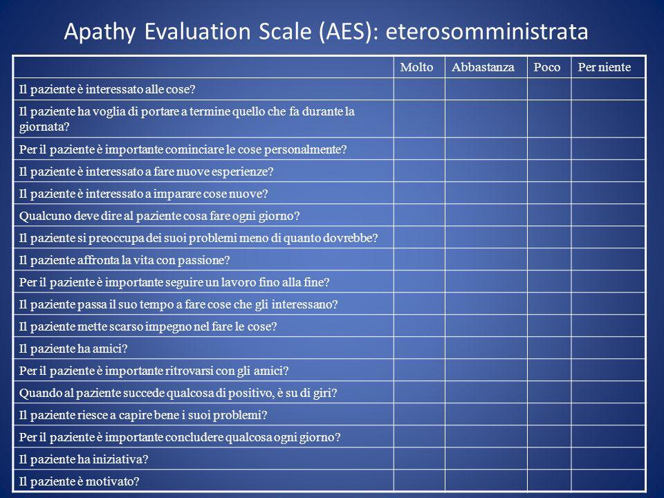 Apathy Evaluation Scale (AES): eterosomministrata MoltoAbbastanzaPocoPer niente Il paziente è interessato alle cose? Il paziente ha voglia di portare