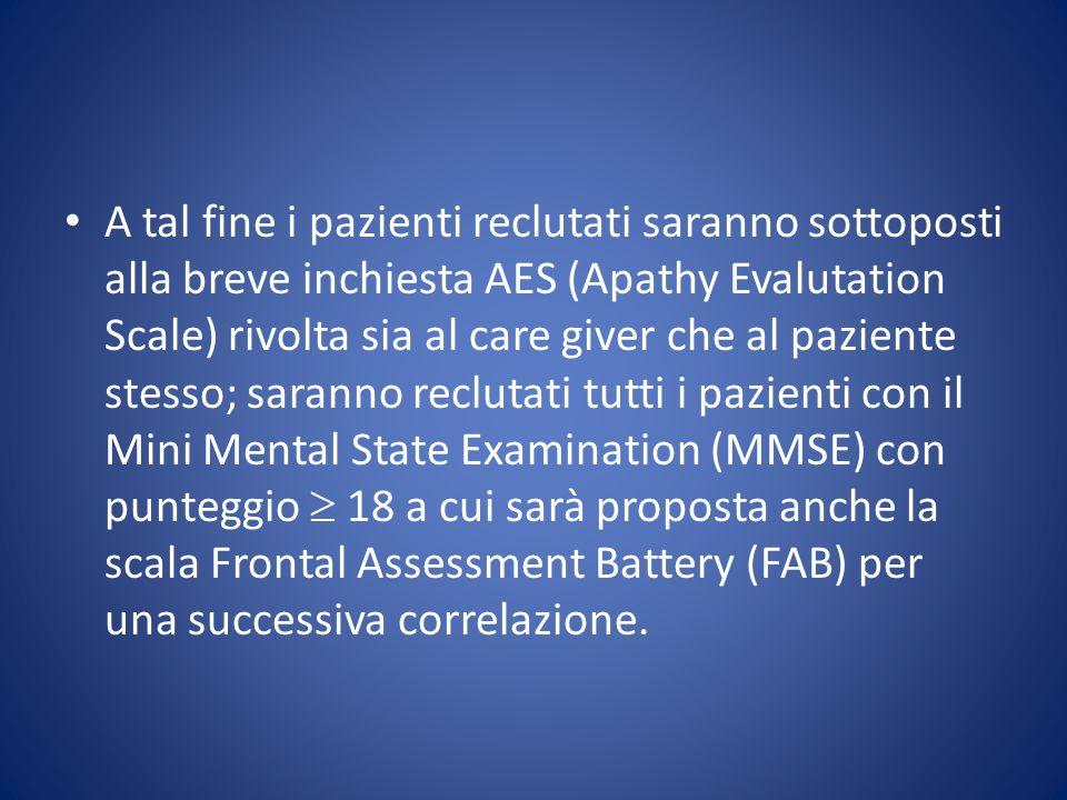 A tal fine i pazienti reclutati saranno sottoposti alla breve inchiesta AES (Apathy Evalutation Scale) rivolta sia al care giver che al paziente stess