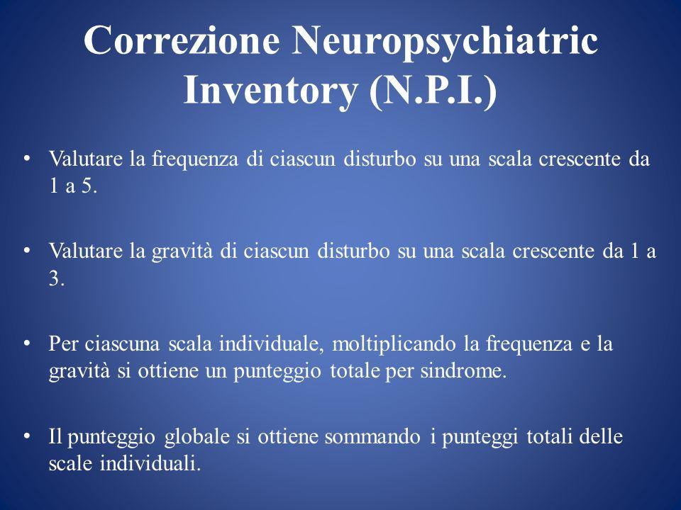 Correzione Neuropsychiatric Inventory (N.P.I.) Valutare la frequenza di ciascun disturbo su una scala crescente da 1 a 5. Valutare la gravità di ciasc