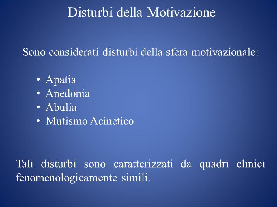 Disturbi della Motivazione Sono considerati disturbi della sfera motivazionale: Apatia Anedonia Abulia Mutismo Acinetico Tali disturbi sono caratteriz