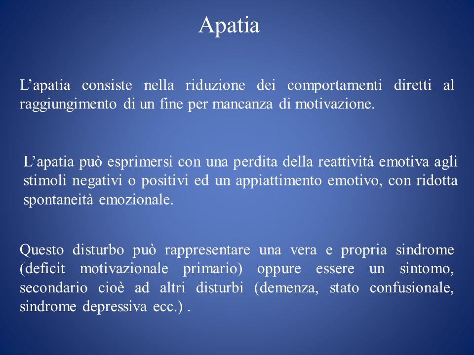 Apatia Lapatia consiste nella riduzione dei comportamenti diretti al raggiungimento di un fine per mancanza di motivazione. Questo disturbo può rappre
