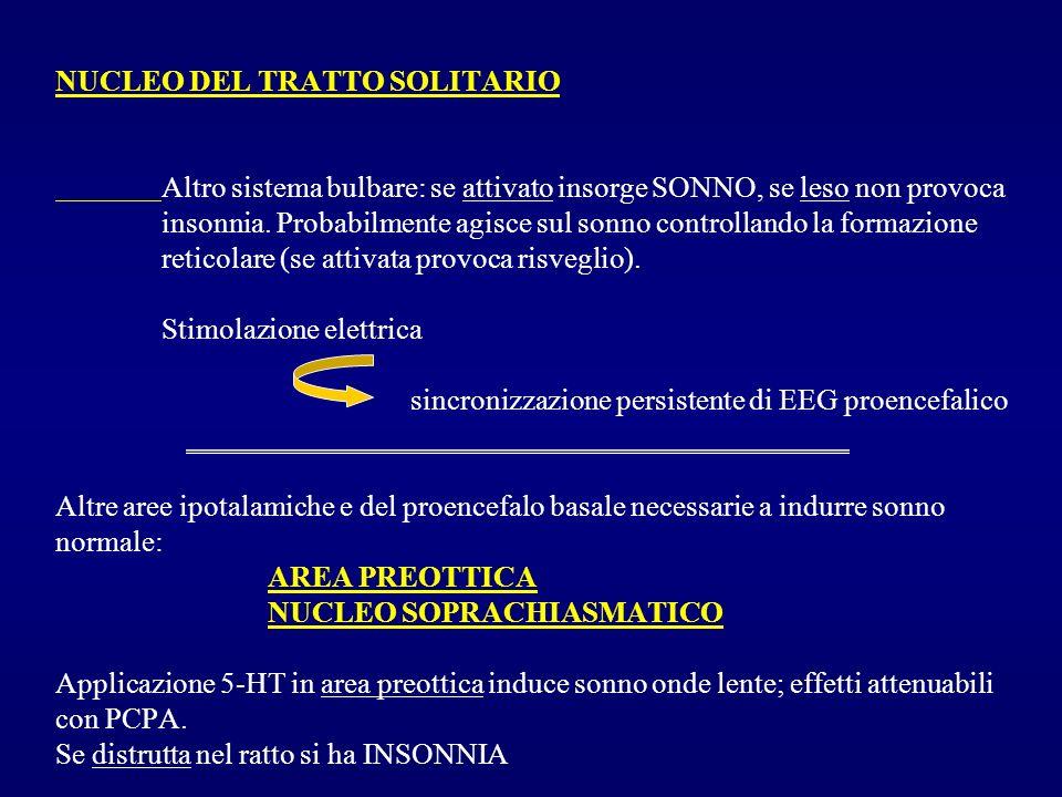 NUCLEO DEL TRATTO SOLITARIO Altro sistema bulbare: se attivato insorge SONNO, se leso non provoca insonnia. Probabilmente agisce sul sonno controlland