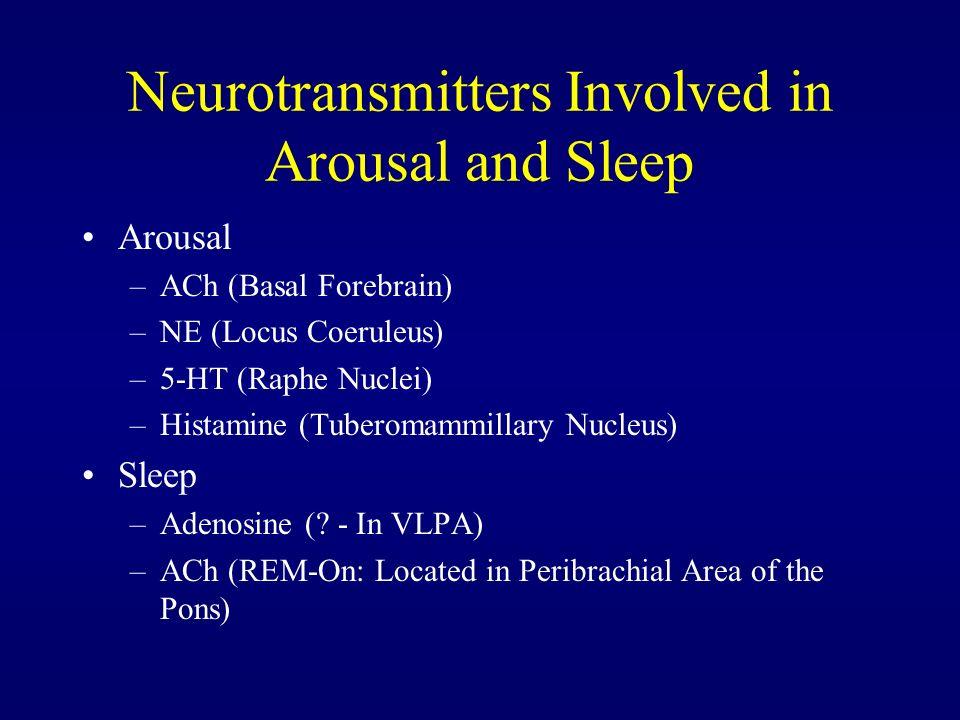 Neurotransmitters Involved in Arousal and Sleep Arousal –ACh (Basal Forebrain) –NE (Locus Coeruleus) –5-HT (Raphe Nuclei) –Histamine (Tuberomammillary