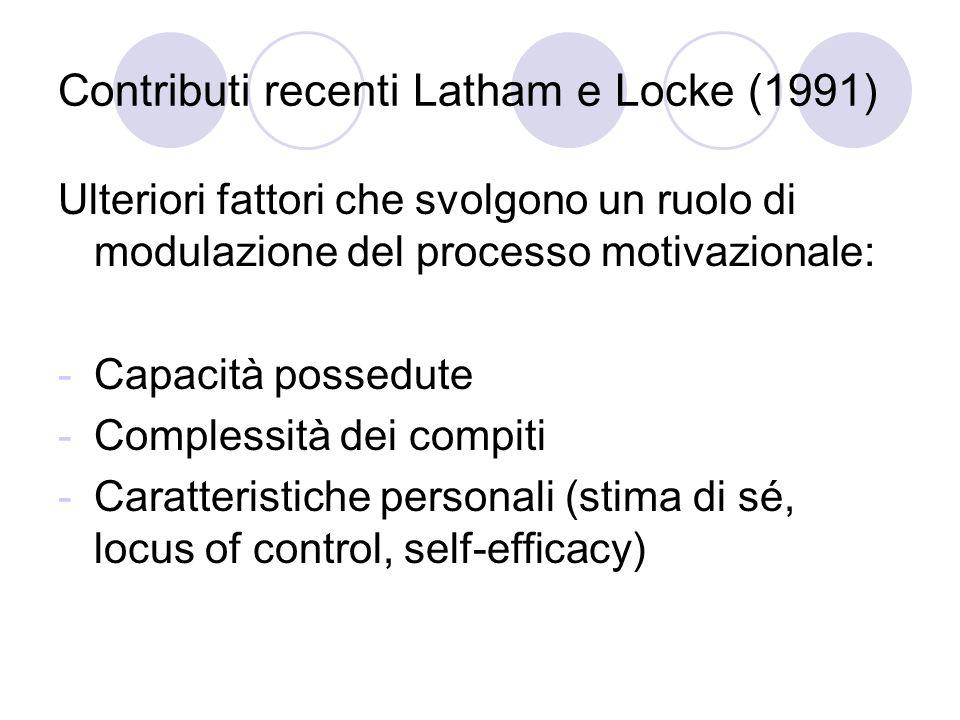 Contributi recenti Latham e Locke (1991) Ulteriori fattori che svolgono un ruolo di modulazione del processo motivazionale: -Capacità possedute -Compl
