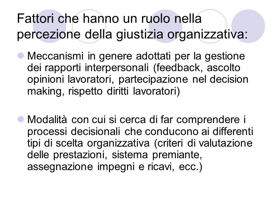 Fattori che hanno un ruolo nella percezione della giustizia organizzativa: Meccanismi in genere adottati per la gestione dei rapporti interpersonali (