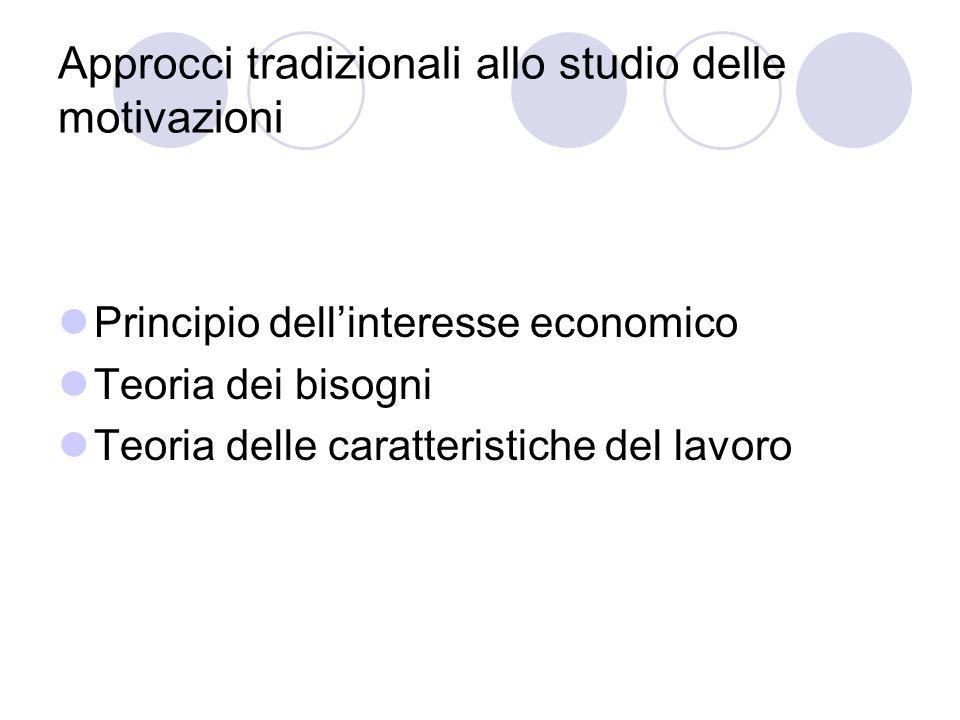 Approcci tradizionali allo studio delle motivazioni Principio dellinteresse economico Teoria dei bisogni Teoria delle caratteristiche del lavoro