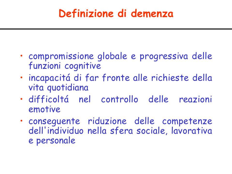 Definizione di demenza compromissione globale e progressiva delle funzioni cognitive incapacitá di far fronte alle richieste della vita quotidiana dif