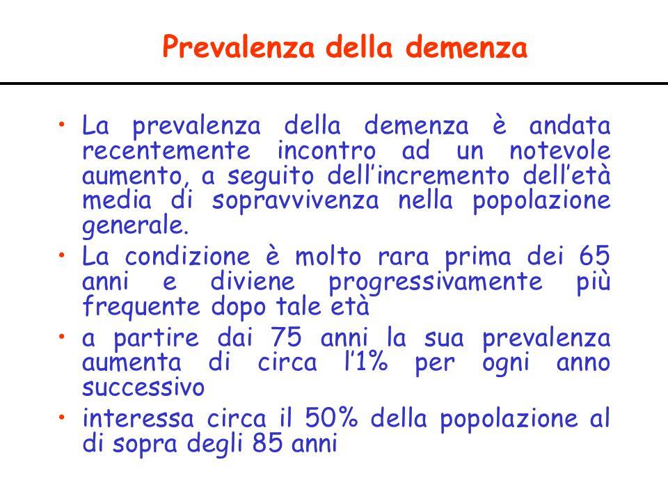 Prevalenza della demenza La prevalenza della demenza è andata recentemente incontro ad un notevole aumento, a seguito dellincremento delletà media di