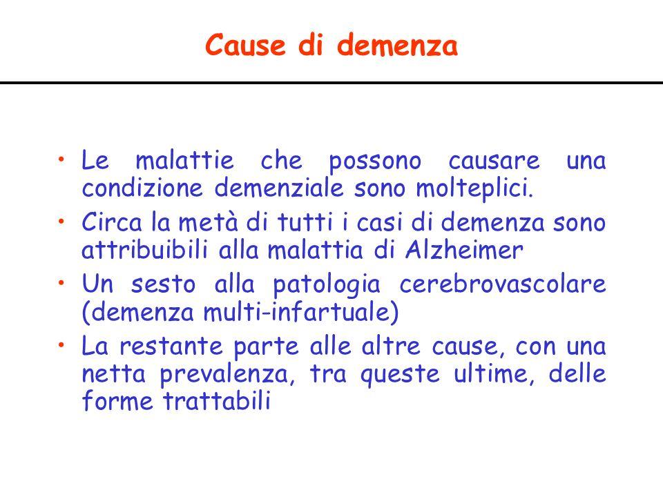 Cause di demenza Le malattie che possono causare una condizione demenziale sono molteplici. Circa la metà di tutti i casi di demenza sono attribuibili
