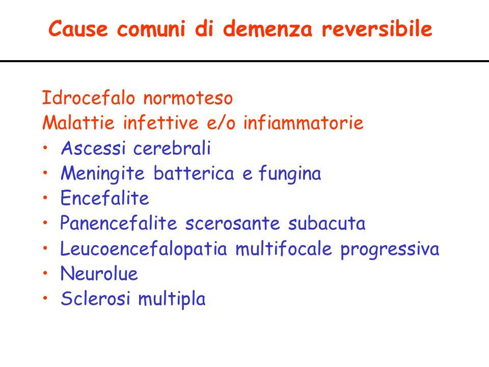Cause comuni di demenza reversibile Idrocefalo normoteso Malattie infettive e/o infiammatorie Ascessi cerebrali Meningite batterica e fungina Encefali