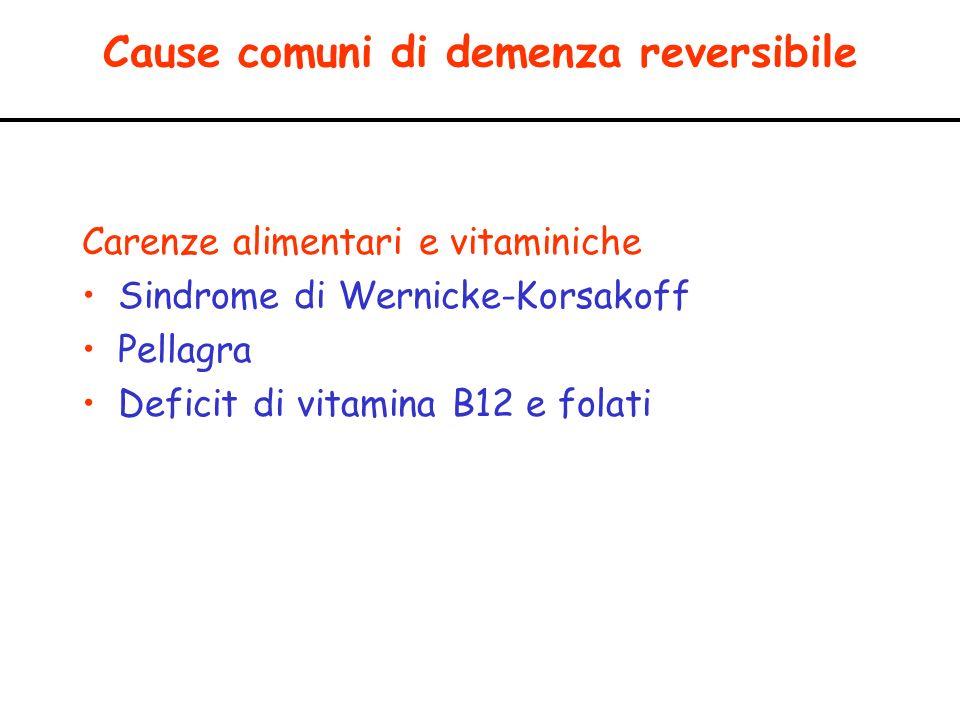 Cause comuni di demenza reversibile Carenze alimentari e vitaminiche Sindrome di Wernicke-Korsakoff Pellagra Deficit di vitamina B12 e folati
