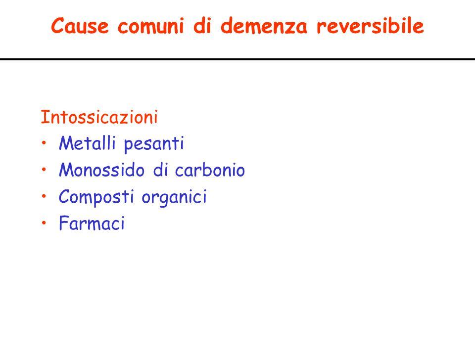 Cause comuni di demenza reversibile Intossicazioni Metalli pesanti Monossido di carbonio Composti organici Farmaci
