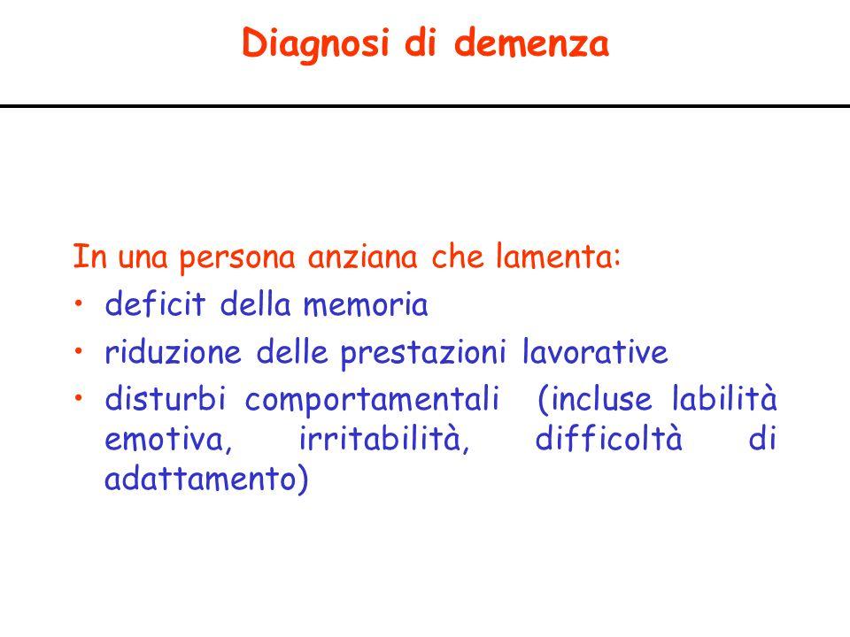 Diagnosi di demenza In una persona anziana che lamenta: deficit della memoria riduzione delle prestazioni lavorative disturbi comportamentali (incluse