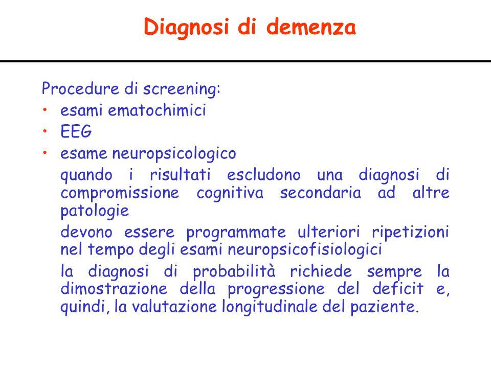 Diagnosi di demenza Procedure di screening: esami ematochimici EEG esame neuropsicologico quando i risultati escludono una diagnosi di compromissione