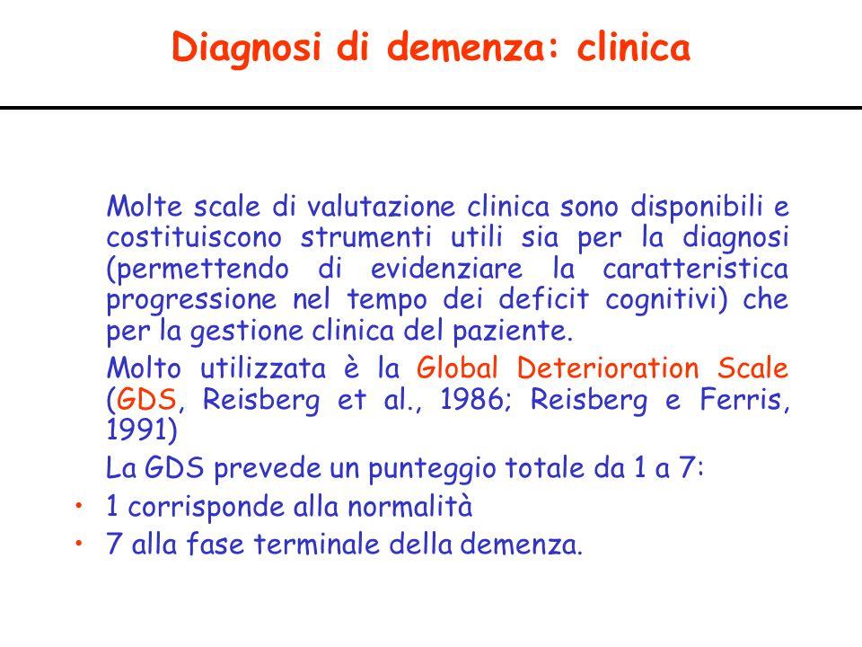 Diagnosi di demenza: clinica Molte scale di valutazione clinica sono disponibili e costituiscono strumenti utili sia per la diagnosi (permettendo di e