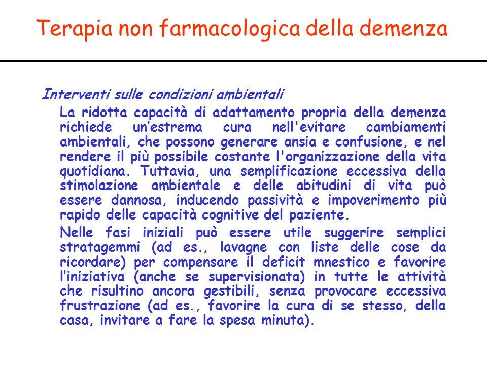 Terapia non farmacologica della demenza Interventi sulle condizioni ambientali La ridotta capacità di adattamento propria della demenza richiede unest