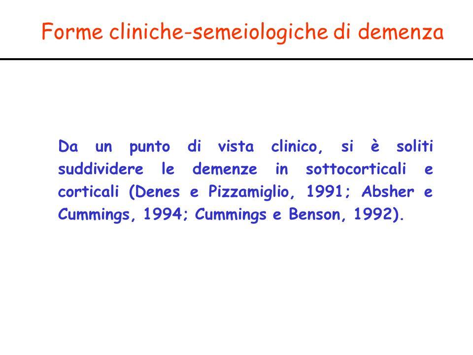 Forme cliniche-semeiologiche di demenza Da un punto di vista clinico, si è soliti suddividere le demenze in sottocorticali e corticali (Denes e Pizzam